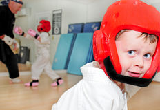 Young karate students Royalty Free Stock Photography