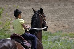 Closeup of young Asian boy is riding her pure breed horse. Young Kazakh Asian boyis riding his beautiful horse in a Kazakhstan Steppe during a warm summer day in royalty free stock photo