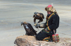 Young Kazakh Eagle Hunter Stock Photography