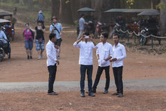 Young Khmers students Angor Wat Royalty Free Stock Images