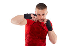 Young kickbox fighter on white Royalty Free Stock Photo
