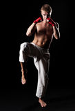 Young kickboxer ready to fight Stock Image