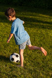 Young kicker. A young boy kicking a footbal on the grass Royalty Free Stock Image