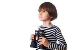 Young kid with binocular Royalty Free Stock Images