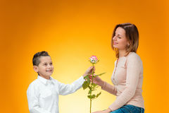 Young kid giving red rose to his mom. On orange background Stock Photos