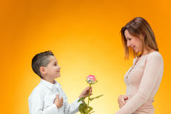 Young kid giving red rose to his mom. On orange background Stock Images