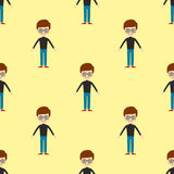 Young kid portrait seamless pattern friendship man character team happy people boy person vector illustration. Stock Photo