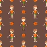 Young kid portrait seamless pattern friendship man character team happy people boy person vector illustration. Royalty Free Stock Photography