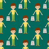 Young kid portrait seamless pattern friendship man character stock illustration