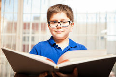Young kid reading a book Stock Images