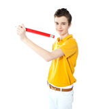 Young kid writing on wall Royalty Free Stock Photo