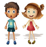 Young kids. Illustration of a young girl and boy Stock Images