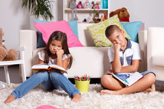 Young kids hate learning Stock Images