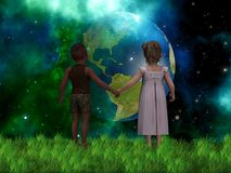 Young kids holding hands in earth fantasy scene Royalty Free Stock Photos