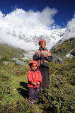 Young kids in mountain, Nepal Stock Photo
