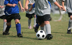 Young Kids Playing Soccer Stock Photography