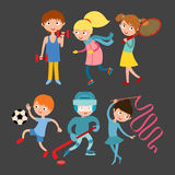 Young kids sportsmen isolated on white vector illustration Royalty Free Stock Photos