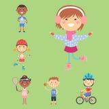 Young kids sportsmens future roller skates gymnastics children sport players vector illustration. Royalty Free Stock Photos
