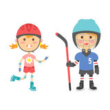 Young kids sportsmens future roller skates gymnastics children sport players vector illustration. Stock Photography