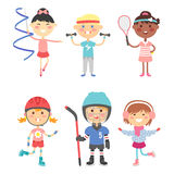 Young kids sportsmens future roller skates gymnastics children sport players vector illustration. Young kids sportsmens future roller skates gymnastics isolated Stock Images
