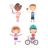 Young kids sportsmens future roller skates gymnastics children sport players vector illustration. Royalty Free Stock Photo