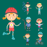 Young kids sportsmens future roller skates gymnastics children sport players vector illustration. Royalty Free Stock Images