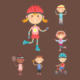 Young kids sportsmens future roller skates gymnastics children sport players vector illustration. Royalty Free Stock Photos
