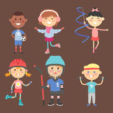 Young kids sportsmens future roller skates gymnastics children sport players vector illustration. Young kids sportsmens future roller skates gymnastics  and Stock Images