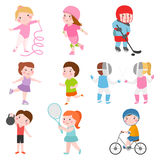 Young kids sportsmens future roller skates gymnastics isolated on white and children young winners after sport school Royalty Free Stock Image