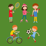 Young kids sportsmens isolated on white vector illustration Stock Images