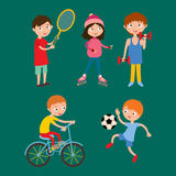 Young kids sportsmens isolated on white vector illustration Royalty Free Stock Photos