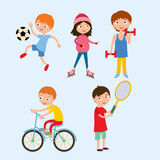 Young kids sportsmens isolated on white vector illustration Royalty Free Stock Photography