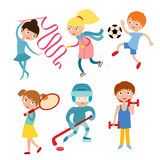 Young kids sportsmens isolated on white vector illustration Royalty Free Stock Images