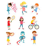 Young kids sportsmens isolated on white vector illustration Stock Image