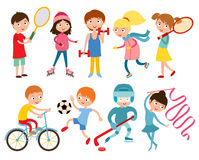 Young kids  on white vector illustration Royalty Free Stock Images