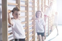 Kids working out at gym. Young kids working out with wall bars at a school gym royalty free stock image