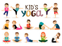 Young kids in yoga poses Stock Photos