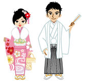 Young Kimono couple,Isolated Royalty Free Stock Photos
