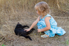 Young kind girl and black cat. Royalty Free Stock Photography