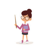 Young kindergarden teacher teaching class cartoon character person on white background vector profession uniform worker Stock Photo