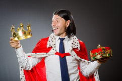 The young king businessman in royal concept Stock Photos
