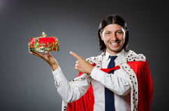 Young king businessman in royal concept Stock Images