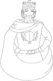 Young King With Crown Coloring Page. Vector illustration coloring page of a young king wearing a crown and smiling stock illustration