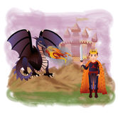 Young king and magic dragon Royalty Free Stock Photos