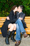 Young kissing couple Stock Photos