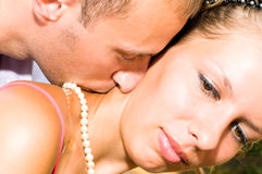 Young kissing couple Royalty Free Stock Image