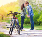 Young kissing couple in love Stock Photography