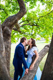 Young kissing happy couple in love Royalty Free Stock Photos