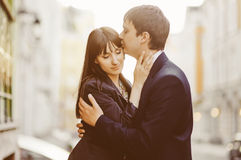 Young kissing happy couple in love Stock Photo