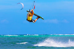 Young kitesurfer on sea background Extreme Sport Kitesurfing Royalty Free Stock Photography